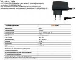 CoaxLan CL1NT Netzteil Datenblatt