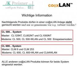 CoaxLAN Hinweis Verwendung von Modems passend zu Routern/Multischaltern