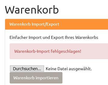 Fehlermeldung Warenkorb-Import