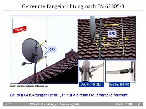 """Satellitenantenne auf Ostdachseite mit Fangstange an GFK-Distanzhaltern dahinter. Die lichte Weite muss um 85 mm weiter als """"s"""" und die Isolierstrecke sein."""