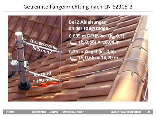 Satellitenantenne auf Süddachseiteseite mit Fangstange an GFK-Distanzahltern dahinter aber fraglicher TA-Einhaltung über die Dachplatten