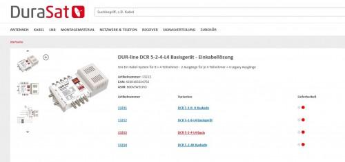 Dur-Line DCR-Multischalter Lieferstatus