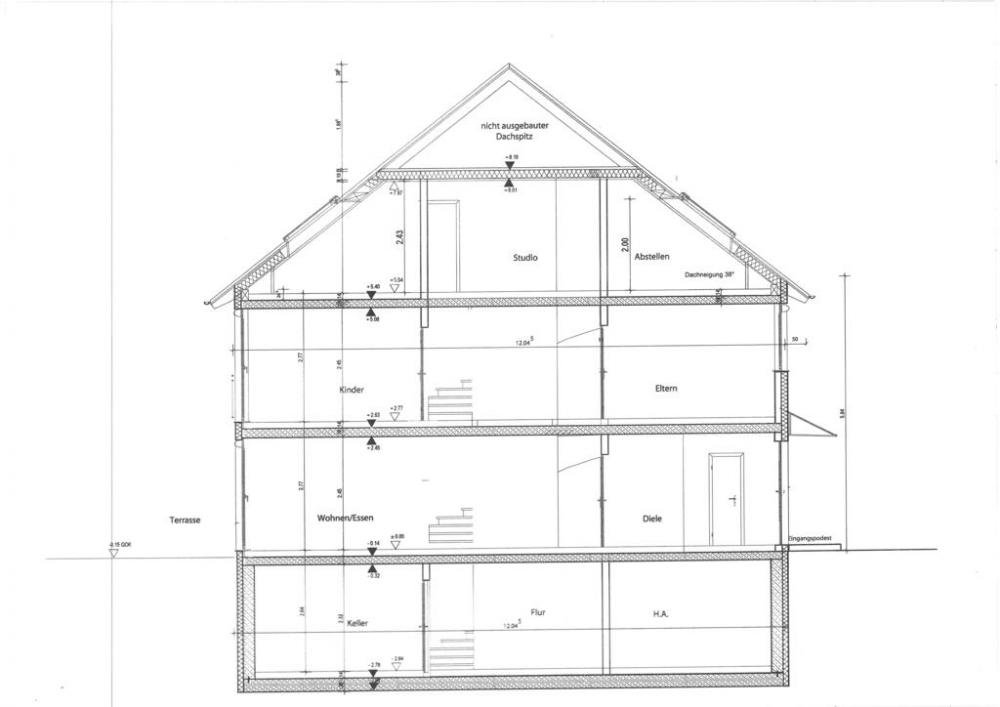 Schnittzeichnung Haus zu erweiterbarer unikabel verteilung ausbauen satanlagen