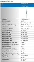 Koaxkabel Wisi MK90 technische Daten