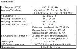 SAT-Multischalter co@xlan 9/8 CL 98 NT technische Daten