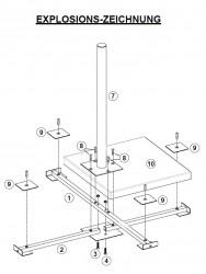 Herkules Balkonständer / Plattenständer für 4 Gehwegplatten (Explosionszeichnung)