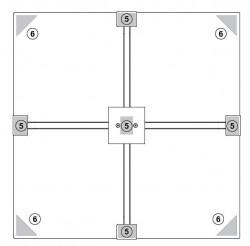 Herkules Balkonständer / Plattenständer für 4 Gehwegplatten (Draufsicht von oben)