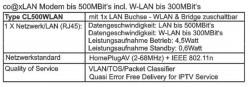 co@xLAN CL500WLAN Modem technische Daten